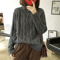 YASOO - Turtleneck Cable-Knit Sweater