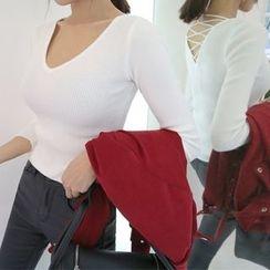 DABAGIRL - Lace-Up Back Rib-Knit Top