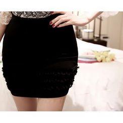 Marlangrouge - Inset Shorts Frilled-Hem Mini Pencil Skirt