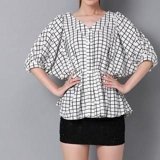 AiSun - V-Neck Gathered Waist Check Blouse