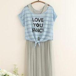 11.STREET - Striped Lettering Tie-Hem T-Shirt