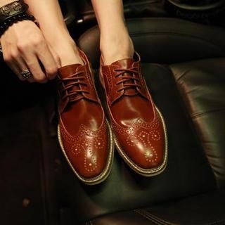 CRYX - Genuine-Leather Perforated Wingtip Oxfords