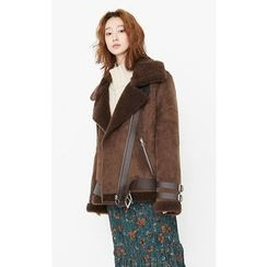 Someday, if - Diagonal-Zip Belted Faux-Shearling Jacket