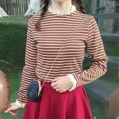 Cloud Nine - Lace Trim Striped Long-Sleeve T-Shirt