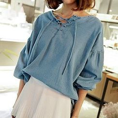 Champi - Lace Up Long Sleeve Denim Top