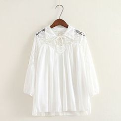 ninna nanna - 3/4-Sleeve Lace Panel Chiffon Top