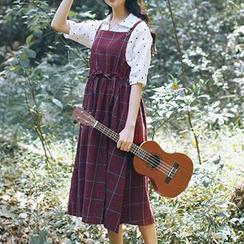 Phyllis - Plaid Pinafore Midi Dress