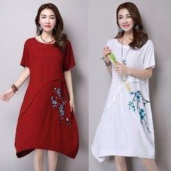 Splashmix - Short-Sleeve Embroidered Dress