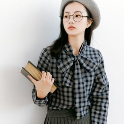 Forest Girl - Tie Neck Plaid Shirt