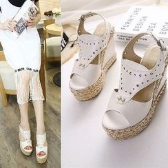 Mancienne - Cutout Wedge Sandals