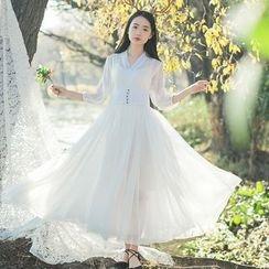 sansweet - 3/4-Sleeve Sheer Pleated Maxi Dress