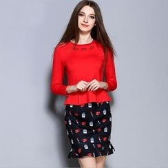 Cherry Dress - Set: Long-Sleeve Ruffle Top + Ruffle Print Skirt