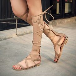 Pretty in Boots - Lace-Up Gladiator Sandals