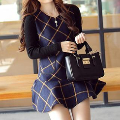 Amella - Knit-Sleeve Check Ruffled Dress