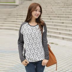 CLICK - Raglan-Sleeve Lace Front T-Shirt