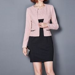 NINETTE - Set: Lace-Panel Open-Front Jacket + Sleeveless Dress