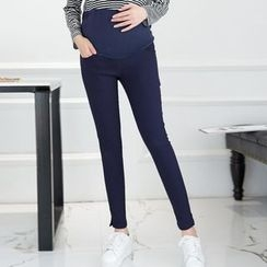 Ohayo - Maternity Slit Cuff Skinny Pants