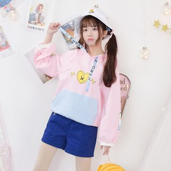 Moriville - Heart Print Color Panel Hoodie