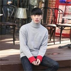 STYLEMAN - Contrast-Trim Turtle-Neck Sweater