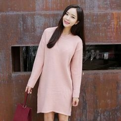 Envy Look - Crewneck Dip-Back Knit Dress