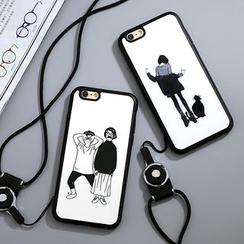 Cartoon Face - Printed Silicone Case with Neck Strap - Apple iPhone 5 / 6 / 6 Plus