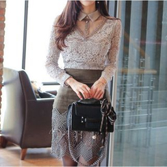 Aurora - Long-Sleeve Lace Blouse