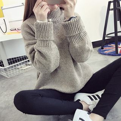 FR - Mock-Neck Chunky Knit Sweater