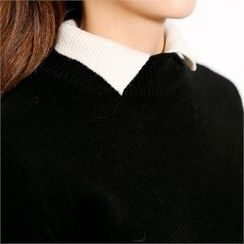 MAGJAY - Wool Blend Contrast-Neck Knit Top