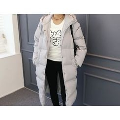 DANI LOVE - Hooded Snap-Button Long Puffer Coat