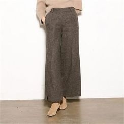 MAGJAY - Wool Blend Wide-Leg Houndstooth Pants