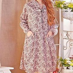Blue Hat - Long-Sleeve Patterned Dress