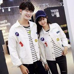 Azure - Couple Matching Applique Button Down Jacket