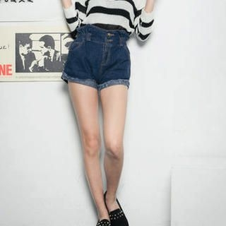 CUTIE FASHION - Paperbag-Waist Cuffed Denim Shorts