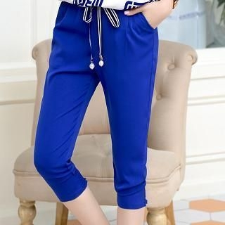 Mooiee - Cropped Slim-Fit Pants
