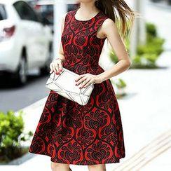 Queen Mulock - Jacquard Sleeveless Dress