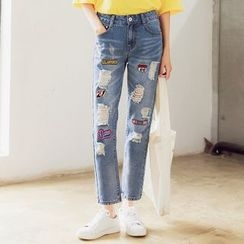Mandalle - Patch Distressed Straight-Cut Jeans