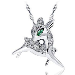 BELEC - White Gold Plated 925 Sterling Silver Deer Pendant with White Cubic Zirconia and 45cm Necklace