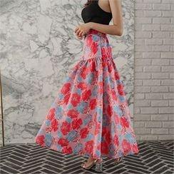 ERANZI - Band-Waist Floral Long Flare Skirt