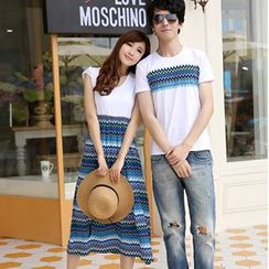 Azure - Couple Matching Chevron T-Shirt / Midi Dress