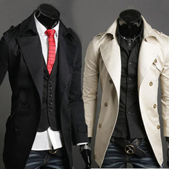 Free Shop - Epaulette-Accent Double-Breasted Trench Coat