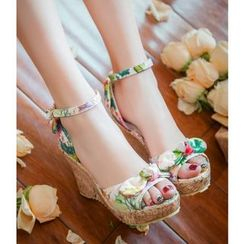 Freesia - Floral Print Bow Wedge Sandals