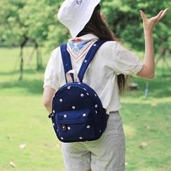 SUPER LOVER - Embroidered Cotton Backpack
