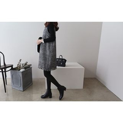 DAILY LOOK - V-Neck Checked Wool Blend Dress