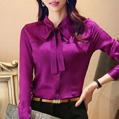 Caroe - Set: Tie-Neck Blouse + Pencil Skirt / Dress Pants