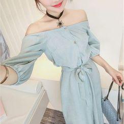 Mi Camilla - Off-Shoulder Tie-Waist Shirtdress