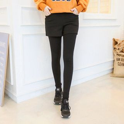 Seoul Fashion - Inset Shorts Brushed Fleece Lined Leggings