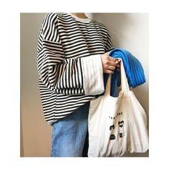 FROMBEGINNING - Striped Oversized Sweatshirt