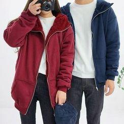 Seoul Homme - Couple High-Neck Fleece-Lined Zip-Up Jacket