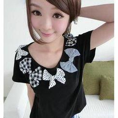 59 Seconds - Bow Appliqué Short-Sleeve T-Shirt