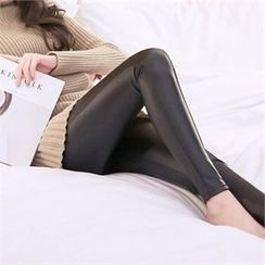 Attrangs - Brushed-Fleece Lined Faux-Leather Leggings